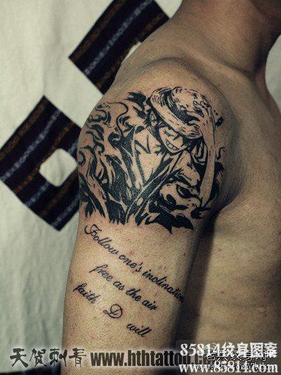 手臂超酷的海贼王路飞纹身图案